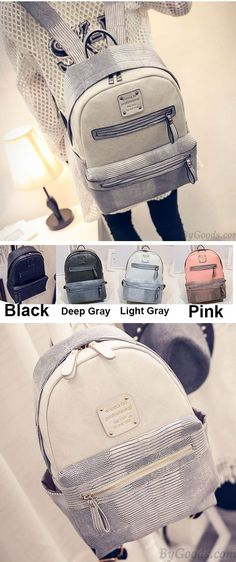 Unique School Splicing PU Crocodile Grained Leather Large Capacity Backpack for big sale! #school #college #Backpack #bag #leather