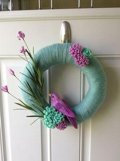 Summer Wreath -Spring Wreath - Felt flower wreath - Yarn Wrapped Wreath - Bird Wreath - Mint and Purple Wreath on Etsy, $40.00