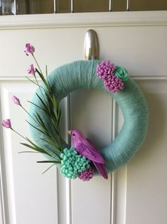 Summer Wreath -Spring Wreath - Felt flower wreath - Yarn Wrapped Wreath - Bird Wreath - Mint and Purple Wreath on Etsy, $40.00
