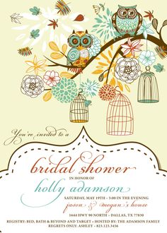 Owl Bridal Shower Invitation, Birdcage, Retro, Vintage, Wedding Shower Invitation, Birds