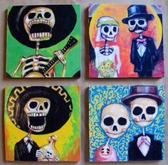 And these please...Handmade Coaster Set  Day of the Dead by theflaskshop on Etsy, $14.95...got em