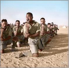Māoris of 'C' Company 28th Māori Btn. of the 2nd New Zealand Division perform the 'Haka' in Egypt 25 June 1941.