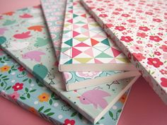 Sweet and summery notebook / journal : flower / triangle / medina / bird. $6,40, via Etsy.