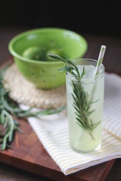 Rosemary Gin Rickey, via Design*Sponge. Gin, lime juice, rosemary simple syrup, club soda, rosemary sprigs for garnish)