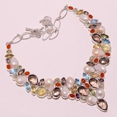 .925 Sterling silver natural biva pearl+red onex+smoky+bt necklace f180 109g #Handmade #Necklace
