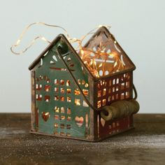 Tin House Container with Wood Handle