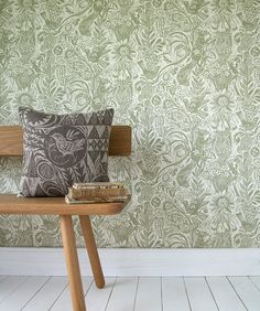 "Mark Hearld's ""Squirrel and Sunflower"" wallpaper for St Jude's - in Green Sedge http://www.stjudesfabrics.co.uk/collections/mark-hearld/products/squirrel-and-sunflower"