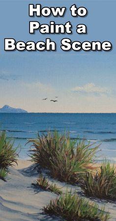 How to Paint the Sea in Acrylic - - How to Paint the Sea in Acrylic Gemalt und gezeichnet wie man eine Strandszene in Acryl malt Acrylic Painting For Beginners, Simple Acrylic Paintings, Acrylic Painting Techniques, Beginner Painting, Painting Videos, Seascape Paintings, Landscape Paintings, Indian Paintings, Beach Paintings