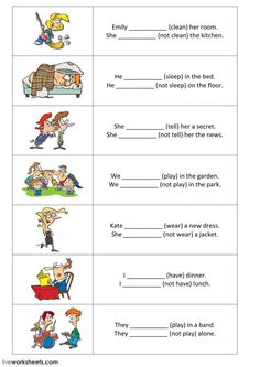 Present simple - positive and negative sentences - part 1 - Interactive worksheet English Grammar For Kids, Teaching English Grammar, English Grammar Worksheets, Verb Worksheets, Worksheets For Kids, Present Continuous Worksheet, Simple Present Tense Worksheets, Simple Sentences Worksheet, Verbs For Kids