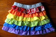 Rainbow Ruffle Skirt DIY Sewing Tutorial - Meaningful Mama