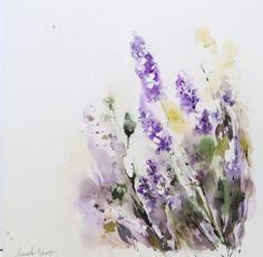 Lavender Flowers - Original Watercolor Painting, Lavender Flower Painting, Nature, Floral
