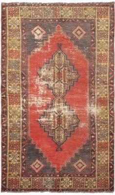"CLEARANCE SALE...Hand-knotted Turkish CARPET 3'7"" x 6'3"" Ottoman Vintage Rug #Turkish"