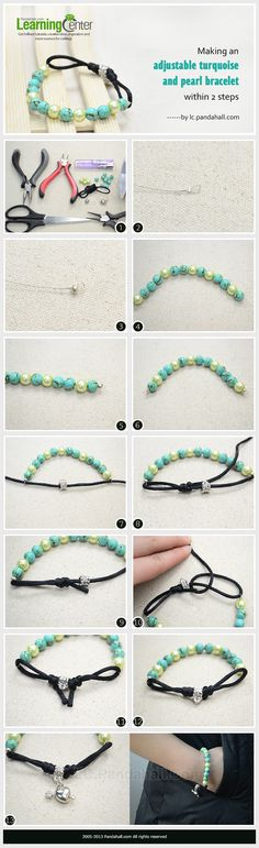 Making an Adjustable Turquoise and Pearl Bracelet Within 2 Steps