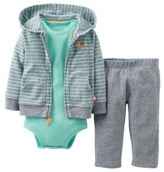 5b54be33bd79 Amazon.com  Carter s Baby Boys  3 Piece Cardigan Set (Baby) - Heather Green  - Heather - 9 Months  Clothing