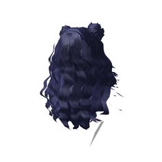 06b5ecf14a Huge Dark Blue Long Hair With Twin Buns (From LGCo - ROBLOX Ball Hairstyles