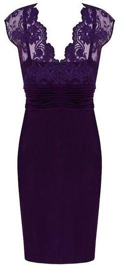 Alexon Dark Purple Lace Top Dress