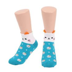 3 Pairs Womens Animal Cute Sneakers Ankle Socks Soft Cotton Casual Fashion Korea #Sockswood #Casual