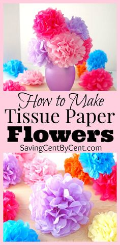 to Make Tissue Paper Flowers Video Tutorial Learn how to make tissue paper flowers to add decor around the house or to give to someone you love.Learn how to make tissue paper flowers to add decor around the house or to give to someone you love. Paper Flower Tutorial, Paper Flowers Diy, Flower Crafts, Paper Flowers How To Make, Paper Tissue Flowers Diy, Mexican Paper Flowers, Tissue Paper Crafts, Diy Paper, Tissue Paper Decorations