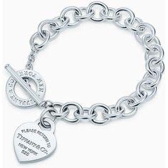RETURN TO TIFFANY Heart Tag Charm Bracelet ❤ liked on Polyvore featuring jewelry, bracelets, sterling silver charm bracelet, heart jewelry, tiffany co jewellery, heart-shaped jewelry and tiffany co jewelry