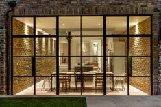 Crittal doors and exposed brickwork with a contemporary kitchen House Extension Design, Glass Extension, Rear Extension, Crittall Extension, Extension Ideas, House Design, Crittal Doors, Crittall Windows, Steel Doors And Windows