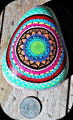 Original hand-painted mandala signed beach rock. by SyndalaDesigns