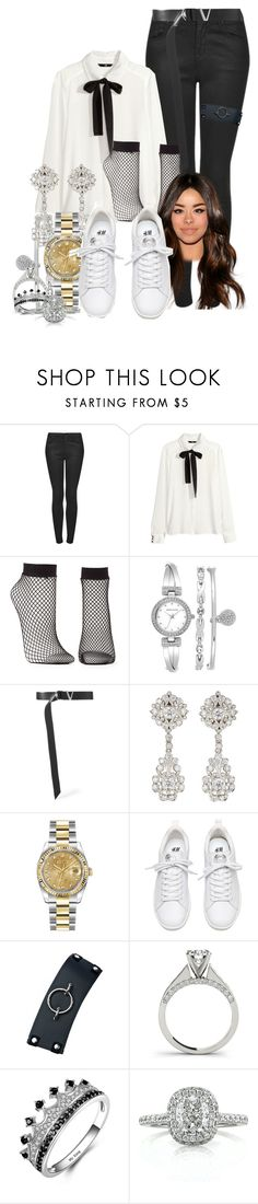 """Untitled #1086"" by elliepetkova ❤ liked on Polyvore featuring Topshop, H&M, Charlotte Russe, Anne Klein, Versace, McTeigue & McClelland, Rolex, Club Exx and Mark Broumand"