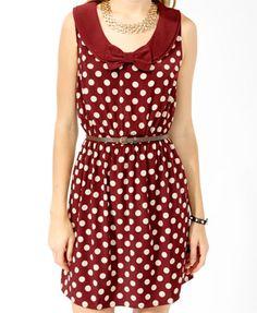 Polka Dot Bow Dress w/ Belt   FOREVER21