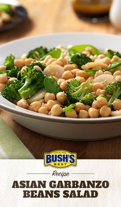 Bush's® Asian Garbanzo Beans Salad: What do you get when you mix Bush's® Garbanzo Beans with snow peas, broccoli and water chestnuts in a sesame-soy dressing? One irresistible salad recipe!