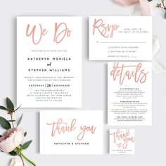 This invitation suite is so chic! | Printable Wedding Invitation Template | Rose Gold We Do Wedding Invitation | Dusty Pink Wedding Stationery | Brush Lettering Wedding Invitation | Rose Gold Wedding | Modern Wedding Stationery | #weddinginvitations #weddingstationery
