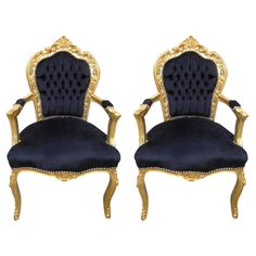 Pair of French Louis XV Rococo Style Armchairs | From a unique collection of antique and modern armchairs at https://www.1stdibs.com/furniture/seating/armchairs/