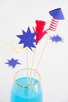 DIY July 4th Firework Drink Stirrers