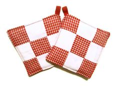 Retro Kitchen Pot Holders Red and White Check  One by bagsbyhags45, $10.00