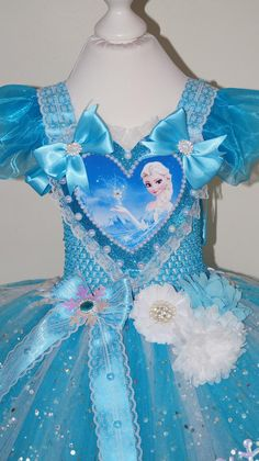 1afe1ecc5f Handmade Girls Princess Elsa Frozen Pageant Ball Gown Glitter Sparkle Party  Tulle Tutu Dress with a Train