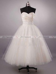 New Custom Sweetheart Bead Tulle Ball Gown Tea Lenght Short Wedding Dresses Gown