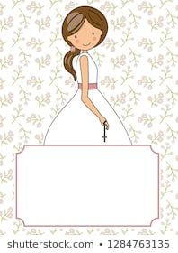 my first communion girl. Flowers background and space for text En Stock, Love Craft, Flower Backgrounds, First Communion, Scrapbook Paper, Pony, Disney Characters, Fictional Characters, Religion