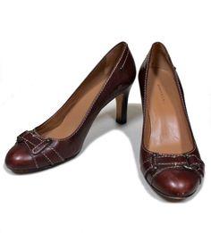 BANANA REPUBLIC Dark Brown Leather Round Toe Brass Buckle Accent Heels Pumps 8.5 #BananaRepublic #PumpsClassics #WeartoWork