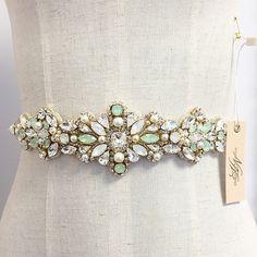 Opal Mint Crystal Bridal Belt Swarovski by HelenaNoelleCouture Wedding Dress Sash, Wedding Belts, Bridal Sash, Diy Accessoires, Jewel Tones, Beaded Embroidery, Wedding Engagement, Just In Case, Swarovski Crystals