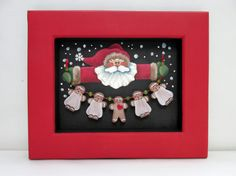 Santa Claus and String of Gingerbread Men, Hand Painted on Black Screen, Reclaimed Wood Frame, Christmas, Santa Claus,…