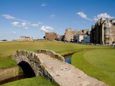 Golfing the Swilcan Bridge on the 18th Hole, St Andrews Golf Course, Scotland Photographic Print