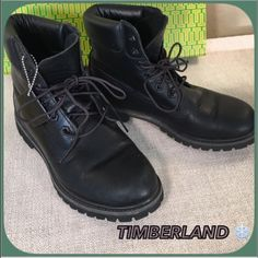 Timberland Like NEW Black Leather All Weather Boot Timberland Like New with Tags Show room Model Gorgeous Black leather Boots!  Cool Padded comfortable ankle , padded footbed and rugged soles!  A couple of minor scratches as photographed! Floor Model! Timberland Shoes Ankle Boots & Booties