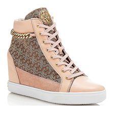 GUESS (Furr) Sneaker Alta Donna Pelle Zeppa Rosa FLFUR1-FAL12