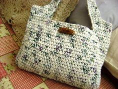 Crocheted bag made from plastic grocery bags. How awesome is that!!