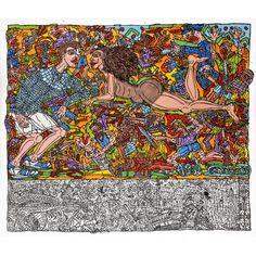 Robert Combas Bataille intemporelle - Acrylique sur toile
