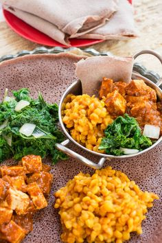 Ethiopian Tofu W'at, Lemon Mustard Lentils & Gingered Kale with Teff Injera by Parsley In My Teeth #vegan #glutenfree