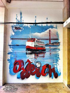 Cacilheiro Graffiti Mural On Avenida Almirante Reis Odeith Lisboa Portugal