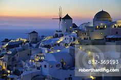 Windmill, Oía at dusk, Santorini, Cyclades, Greek island, Greece…