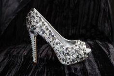 Wedding shoes or prom shoes which are covered in by Bridetobead, £119.99