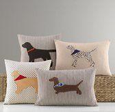 appliqued dog pillows