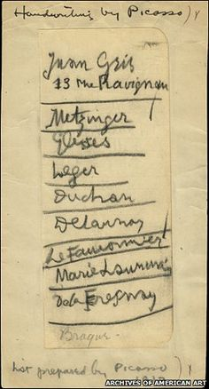 This is so cool! Pablo Picasso's handwritten list of recommended artists for the historic 1913 Armory Show. He could not spell the name of one of his famous contemporaries, Marcel Duchamp.