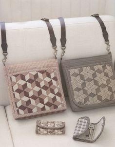 Set of shoulder tote Bag Handbag  purse with keycover key holder case sewing quliting quilt patchwork applique pdf pattern patterns ebook. $7.00, via Etsy.